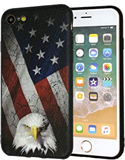 iPhone 7 Case,iPhone 8 Case,Bald Eagle American Flag Slim Anti-Scratch Shockproof Leather Grain Soft TPU Back Protective Cover Case for iPhone 7/iPhone 8 4.7 Inch