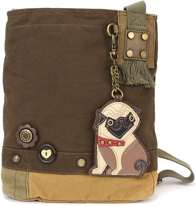 Chala Womens' Canvas Patch Crossbody Handbag Pug   Dark Brown