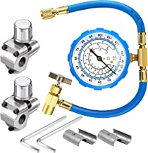2 Pack BPV31 Bullet Piercing Tap Valve Kits Compatible with 1/4, 5/16, 3/8 Inch Outer Diameter Pipes and R134A Air Conditioning Refrigerant Charging Hose with Gauge, Connect to R12/ R22 Port Only