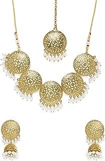 Zaveri Pearls Ethnic Jewellery Set for Women (Golden) (ZPFK7770)