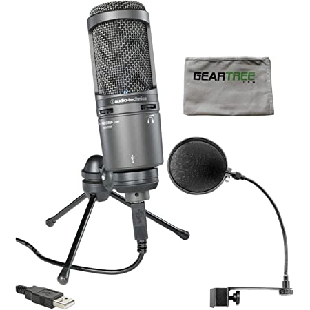 Audio-Technica AT2020USB Plus Condenser Microphone with Pop Filter