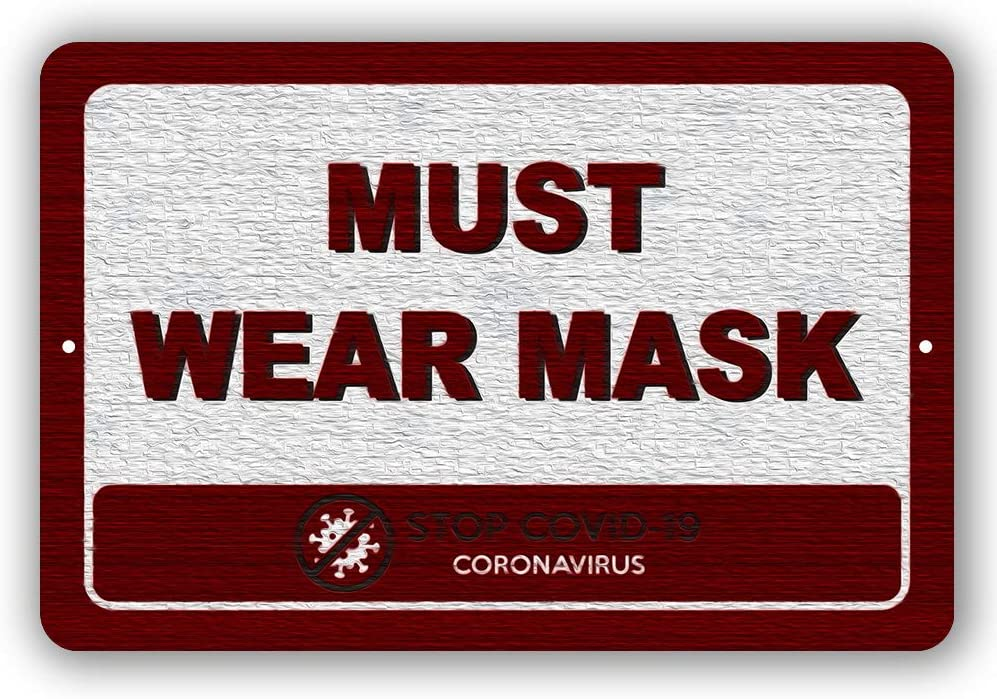 Warning Must Wear Mask Stop Metal 秀逸 Sign Tin and Outdoor 上質 Indoor