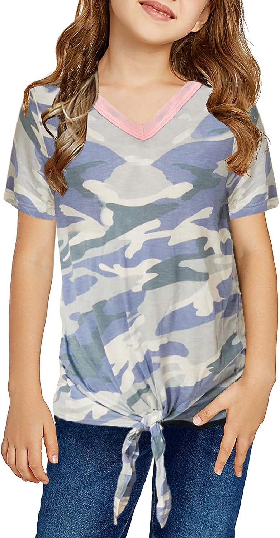 Asvivid Girls Cute Casual Classic Loose Colorblock Striped Printed T Shirt