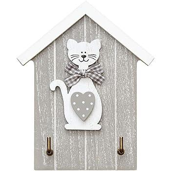 Colgador de llaves para pared en madera, estante para llaves, organizador colocar llaves con 2 ganchos- forma de casa con figura de gato, color blanco y gris para hogar recibidor cocina decoración: