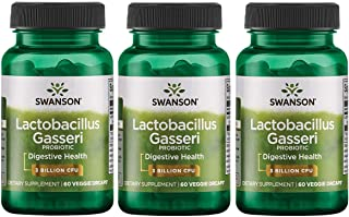 Swanson Lactobacillus Gasseri 3 Billion CFU Digestive Health Fat Metabolism Satiety Probiotic Supplement 60 Veggie Capsules (Acid-Resistant Designed-Release) (3 Pack)