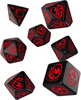 Q WORKSHOP Dragon Black & red RPG Ornamented Dice Set 7 Polyhedral Pieces