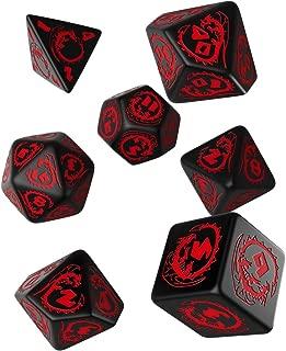 Q WORKSHOP Dragon Black & red RPG Ornamented Dice Set 7 Polyhedral Pieces
