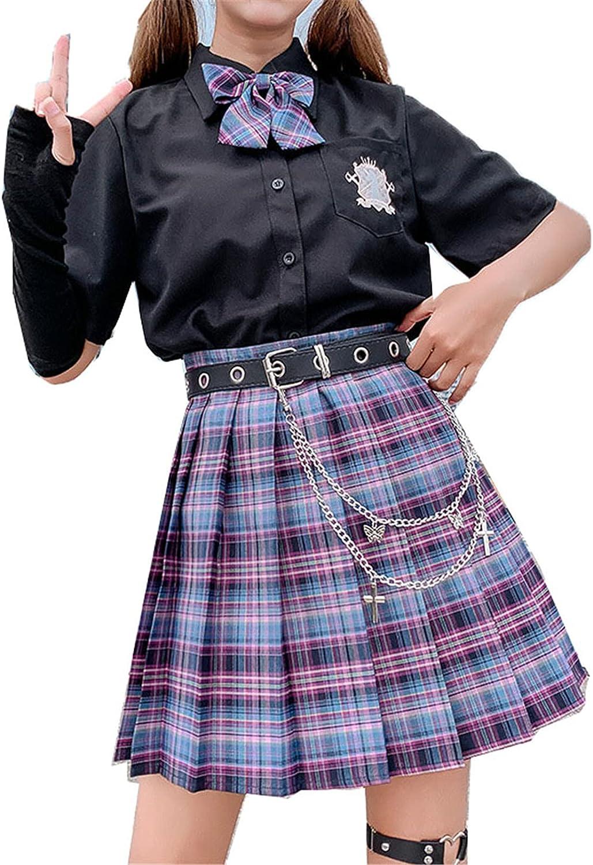 New Summer Women Skirts High Waist Pleated Skirt Korean Japanese Style Sweet Plaid