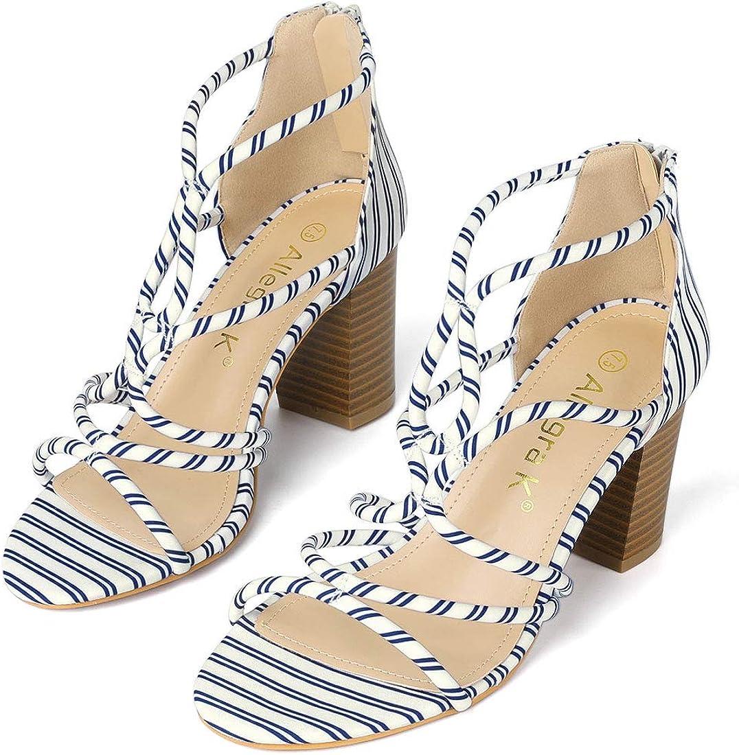 Allegra shopping K Women's Open Toe Stripe Sandals Heel Chunky excellence