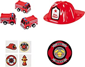 Fireman Party Favors Kit for 12 with Pull Back Firetrucks, Firefighter Helmets and Tattoos