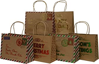 Christmas Gift Bags, Kraft and foil hot-Stamp Designs with Santa Mail Theme, 24 Medium Vogue Bags in Assorted Christmas Prints, Red, Green and Gold (Set of 24 Bags)