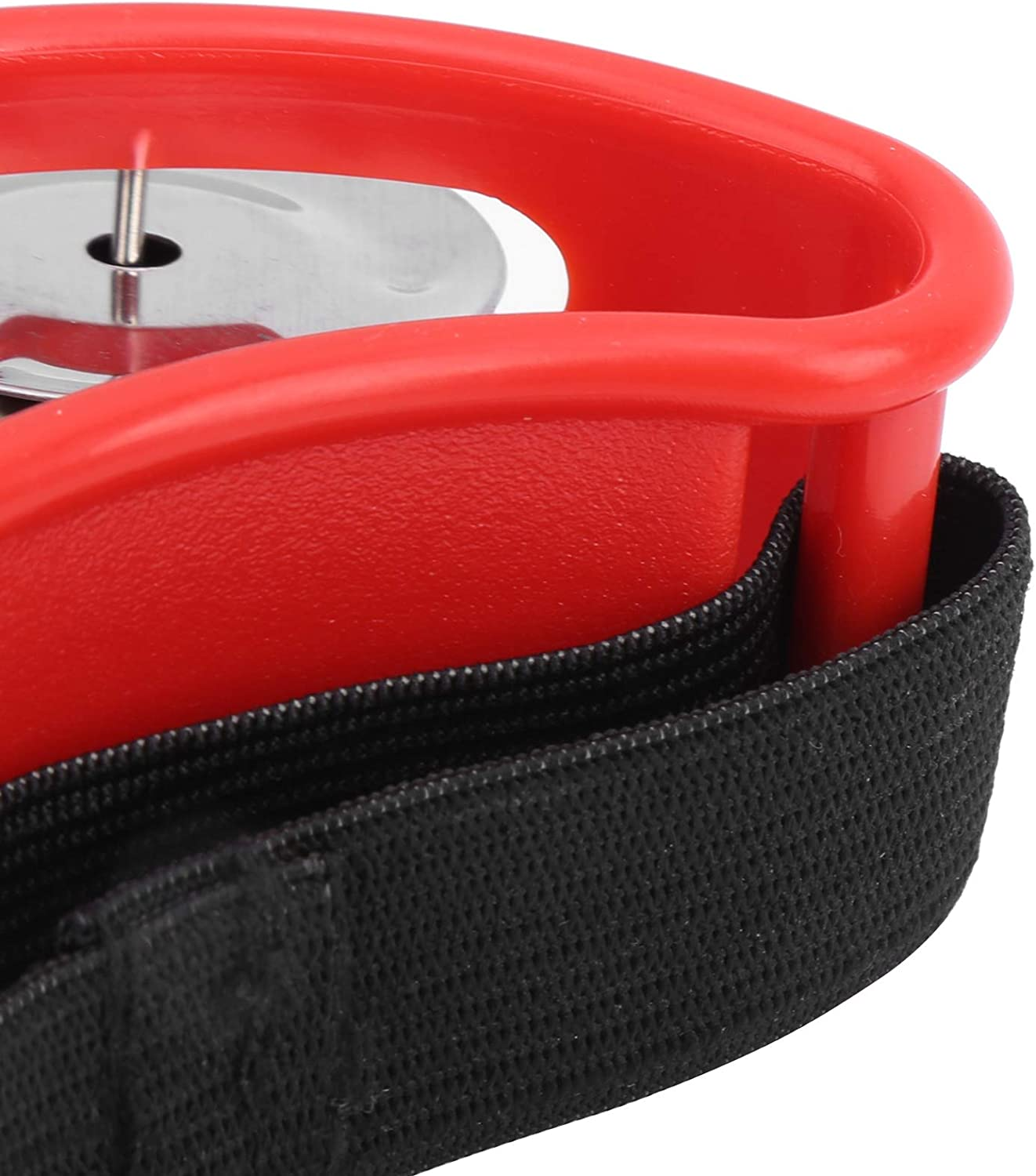 Red Foot Tambourine with Double Row for Cajon Box Drum Companion Accessory