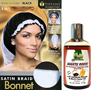 Fountain Mighty Roots Edge Growth Oil 4 Fl Oz With Extra Large Satin Braid Or Dreadlocks Bonnet