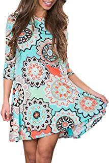 Women's Vintage Boho A-Line Maxi Evening Three Quarter Party Beach Floral Dress