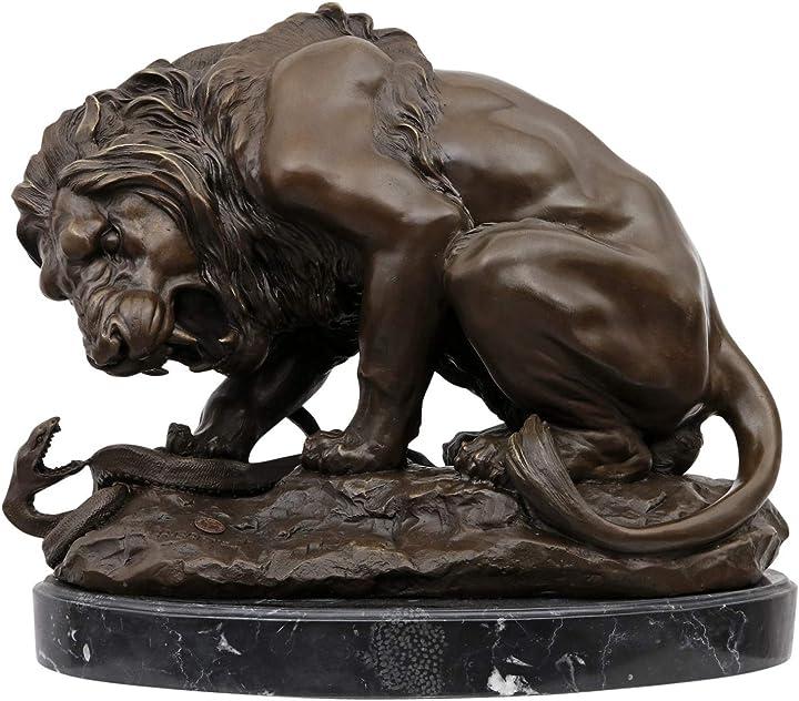 Scultura in bronzo leone serpente  - bronzo anticato figura statua 41cm aubaho B0751HSDWV