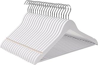 SONGMICS Kleiderbügel aus Ahornholz, 20 Stück, mit Rockkerben und Hosensteg, 360 Grad drehbar, Anzugbügel Jackenbügel für Kleidung Anzug Jacke Hose, Weiß CRW03W-20