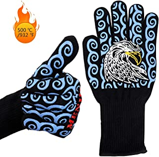 HQXHB Heat Resistant Oven Gloves Double Layers Silicone Coating, Heat Resistant Up to 500 ℃ / 932 ℉, BBQ Gloves & Oven Mitts for Cooking, Fireplace, Grilling, Non-Slip -1 Pair (Blue)