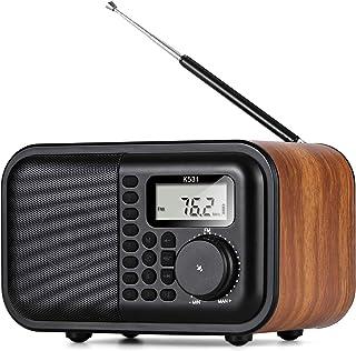 BESROY 最新版 レトロラジオ ワイドFM対応 FMラジオ AMラジオ 短波ラジオ スリープタイマー アラーム機能 Bluetoothスピーカー機能 AUX機能付 18650可充電電池 usb充電 木製 日本語&英語取扱説明書