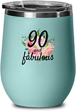 90 And Fabulous Wine Glass For 90th Birthday For 90 Year Old Women Born In 1929 - Best Unique Wine Tumbler Cup For Mom, Wife,