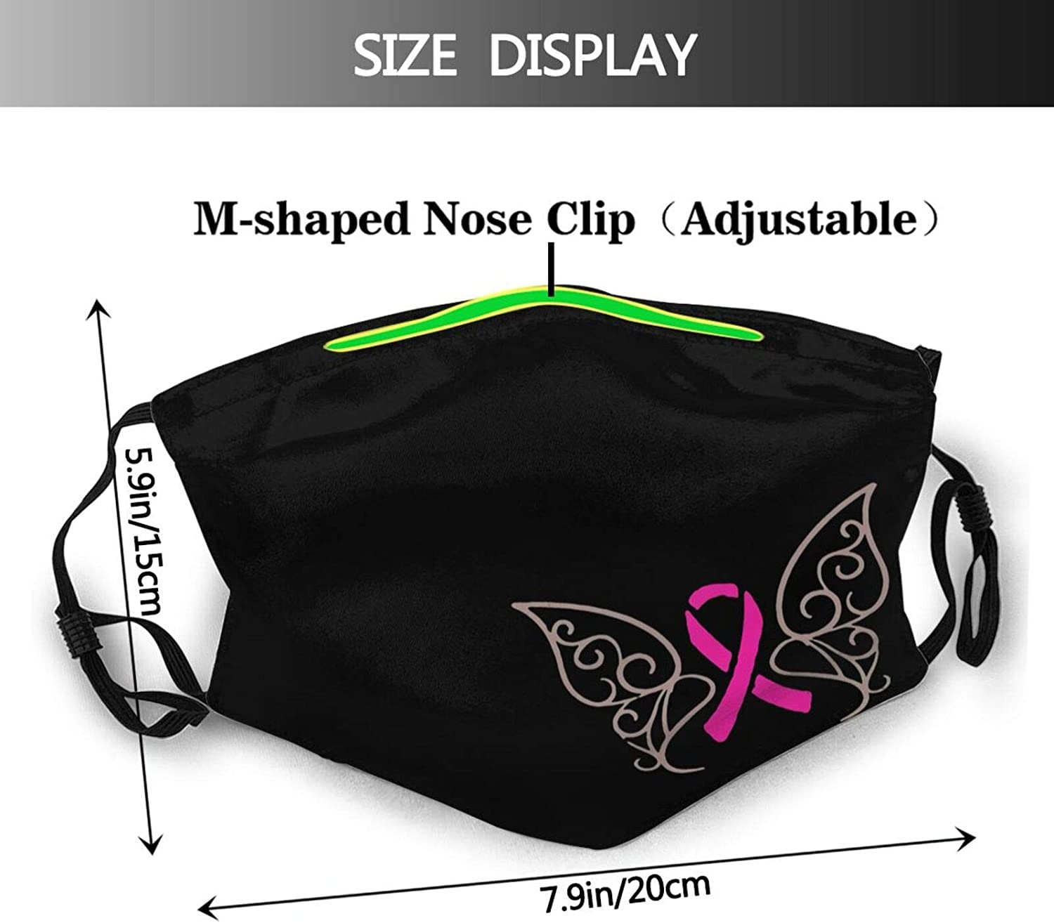 Breast Cancer Awareness Face Mask,Pink Ribbon Mask Breathable Reusable Anti Dust Windproof Balaclava