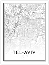 JYWDZSH Canvas Print Black White World City Maps Tel-Aviv Living Room Wall Art Pictures Decor Canvas Painting