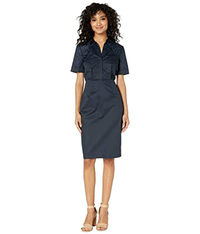 Badgley Mischka Short Sleeve Day Dress with Embroidery Detail On Shoulders (Navy) Women
