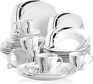 VEWEET, série Fiona, Service de Table, pour 6 Personnes, en Porcelaine (6 Personnes, 30 pièces)