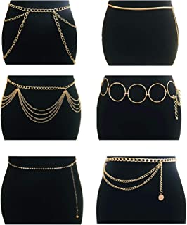 5-6Pcs Boho Multilayer Coins Waist Chain Sunflower Disc Golden Waist Belt Waistbands Tassel Chest Body Belly Chain Summer Beach Bikini Bra Chain Adjustable Body Harness for Women Girls