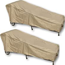 SUNMART 2 Patio Chaise Covers - Protect Your Furniture from UV Mildew Mold Water Damage with Adjustable Peel and Stick Fasteners in Taupe - Value Pack of 2