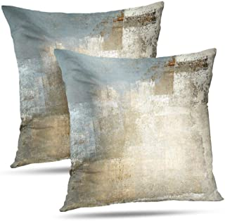 Alricc Grey and Beige Abstract Art Contemporary Pillow Cover, Modern Neutral Decorative Throw Pillows Cushion Cover for Bedroom Sofa Living Room 18X18 Inches Set of 2