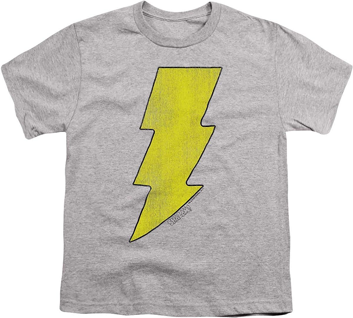 DC Shazam Logo Distressed Unisex Youth T Shirt, Athletic Heather, Medium