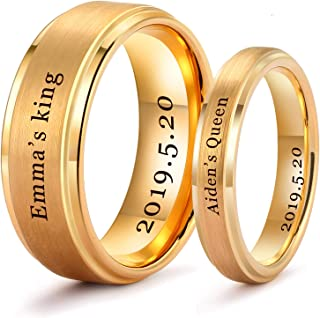 Personalized Gold Wedding Bands Couples Matching Rings Free Custom Engraved Tungsten Carbide Satin Finish Stepped Edge