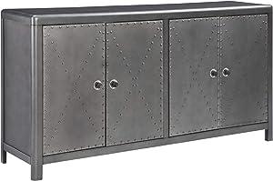 Signature Design by Ashley - Rock Ridge 4-Door Accent Cabinet - Antique Gunmetal Finish - Black Metal Door Pulls - Nailhead Trim,Gray -