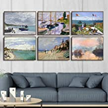 Claude Monet Ship Painting Set Famous Wall Art Impressionism Oil Canvas Print Vintage Posters Modern Living Room Home Deco...