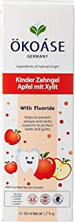OKOASE 100% Natural Organic With Fluoride Apple Flavour Kids Toothpaste (2-6 years old), 50 grams