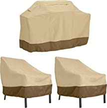 Classic Accessories Veranda Water-Resistant 58 Inch BBQ Grill Cover and 38 Inch Patio Lounge Chair Cover Bundle