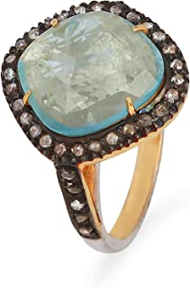 Blue Aquamarine with diamond ring in 925 Sterling Silver With 14K Fine Gold Square Shape Ring With clear Aquamarine And 0....