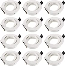 SEBSON 12x Inbouwspot Zwenkbaar incl. GU10 Fitting (LED/Halogeen) - Boorgat Ø75mm, Wit Mat Aluminium, Plafondspot Ø84x25mm
