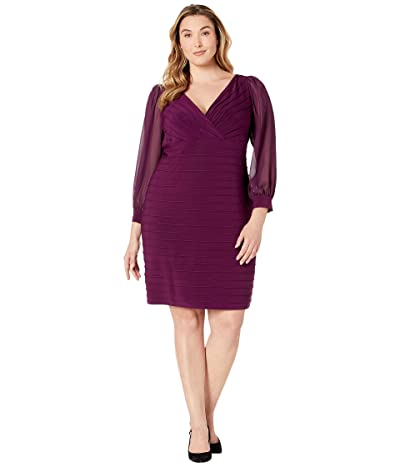 Adrianna Papell Plus Size Jersey and Chiffon Pintucked Sheath Dress (Shiraz) Women