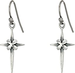 Chan Luu - Sterling Silver Cross Earrings with Clover Detail