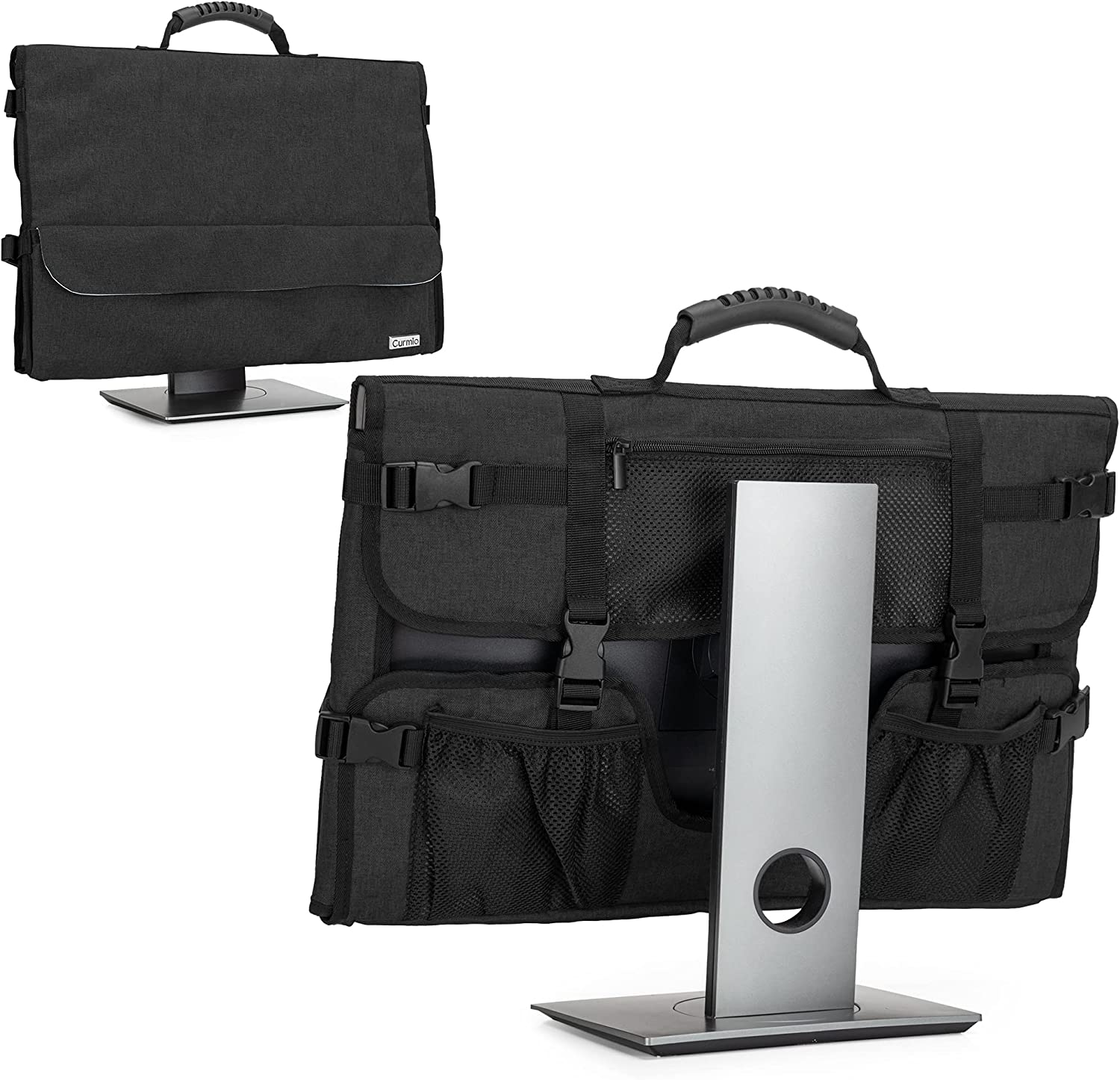 CURMIO Computer Monitor Carrying Case for 24 Inch Monitor, Computer Screen Dust Cover with Rubber Handle and Pockets, Black (Patented Design)