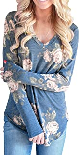 Conwinart Women's Flowers Printed Tee Long Sleeve Top V Neck Tops Casual Tunic Blouse Loose Shirt