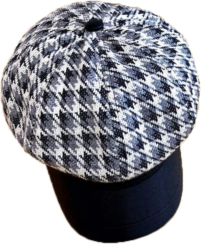 Woman's Striped Plaid Dress Beret 19s Baggy 8 Pieces Newsboy Cap Female Lightweight Baker Boy Cabbie Hats