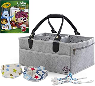 Baby Diaper Caddy Organizer Bag for Changing Table and Color & Sticker Book