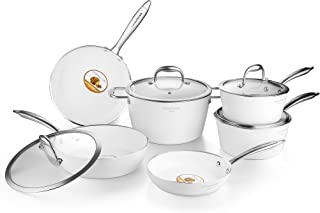 COOKSMARK Nonstick Cookware Set Diamond-Infused Induction&Dishwasher Safe Scratch-Resistant Pots and Pans Set with Glass Lids 10 Pieces