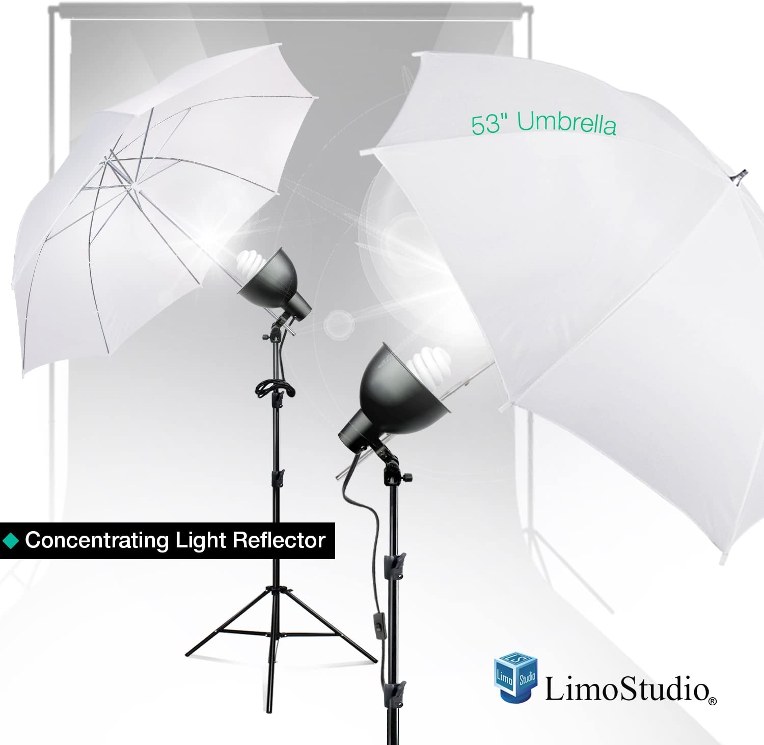 LimoStudio White Umbrella Reflector Complete Kit T Max 53% OFF Lighting with New product!!