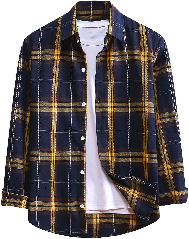 ZSBAYU Men's Classic Fashion Long Sleeve Button Down Shirts Casual Plaid Shirts Jackets Buffalo Plaid Regular-Fit Shirt