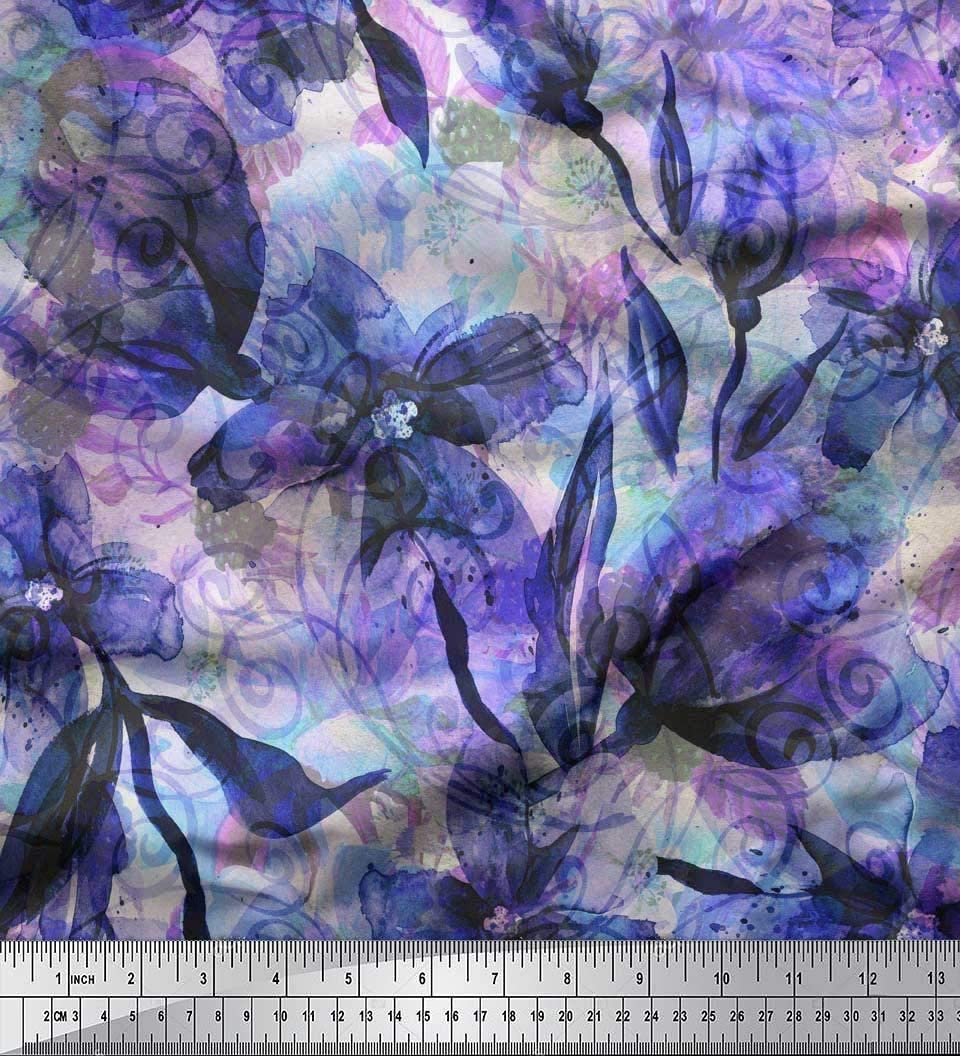 Purple Green Navy White Print Silk Fabric 43 Wide Per Yard