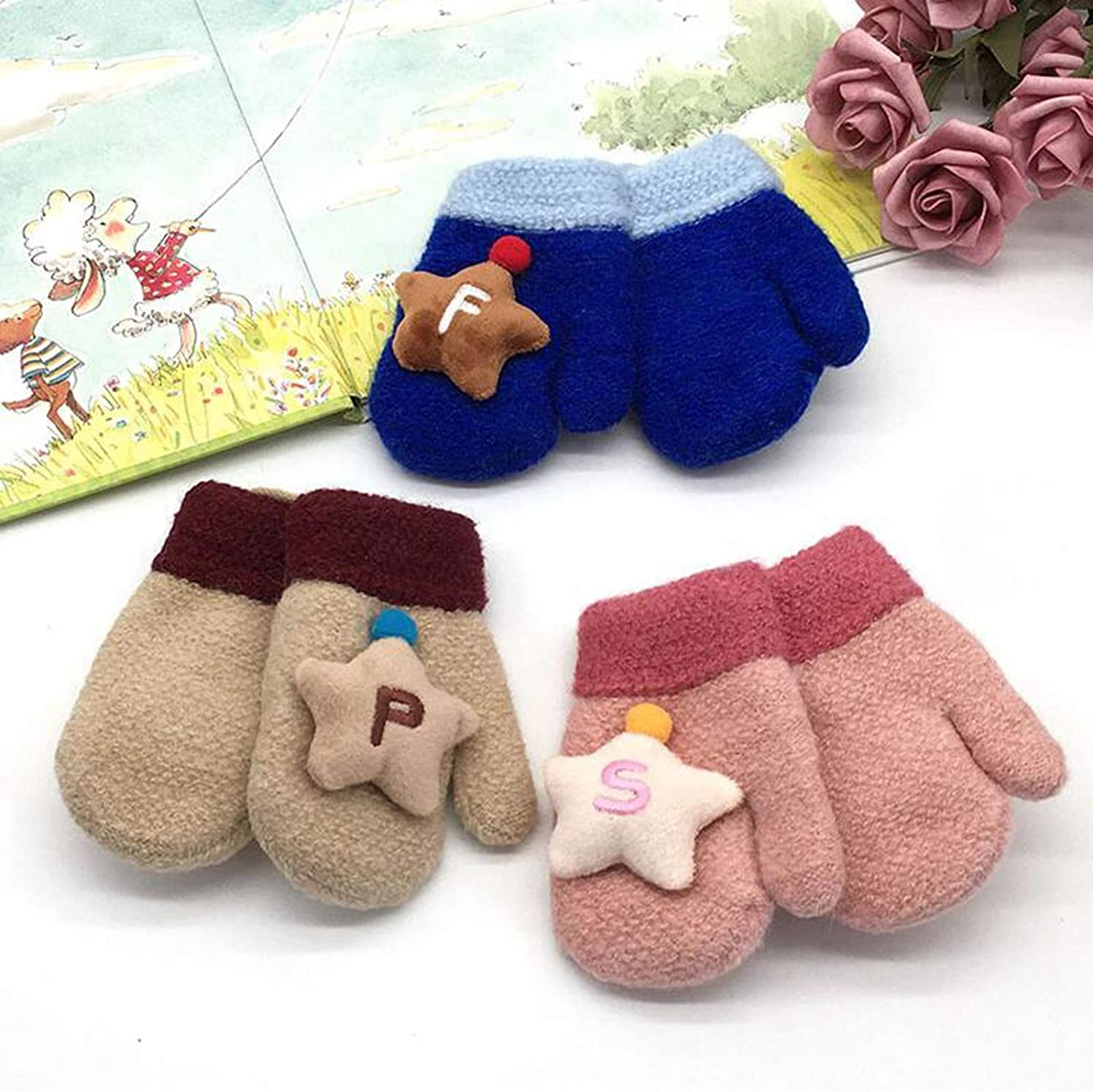 Girls Mittens, Star Chunky Plush Thermal Kids Cold Weather Gloves for Christmas Holiday Season