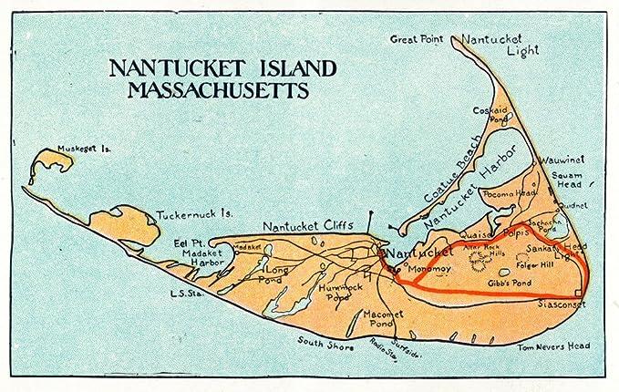 Amazon Com Nantucket Massachusetts Map Of The Island Vintage Map 12x18 Art Print Wall Decor Travel Poster Posters Prints